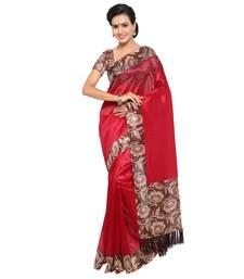 Buy Magenta plain tussar silk saree with blouse tussar-silk-saree online
