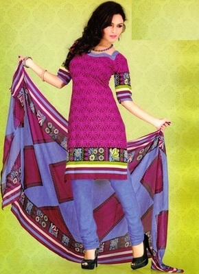 Dazzling Purple Printed Crepe Unstitched Dress Material D.No SA9001