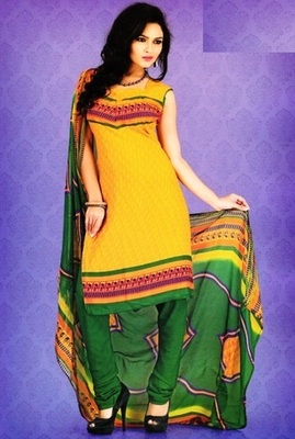Trendy Yellow Printed Crepe Unstitched Dress Material D.No SA9003