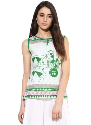 white Cotton printed stitched tops