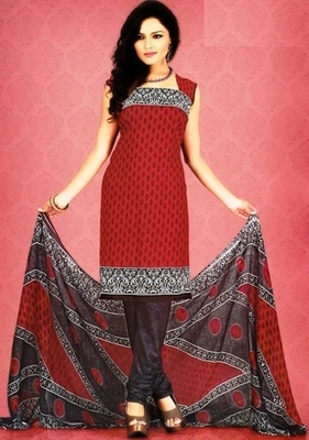 Radiant Red Printed Crepe Unstitched Dress Material D.No SA9005