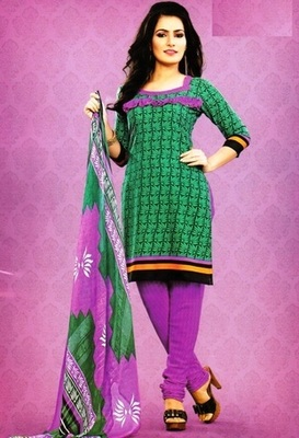 Dazzling Green Printed Crepe Unstitched Dress Material D.No SA9011