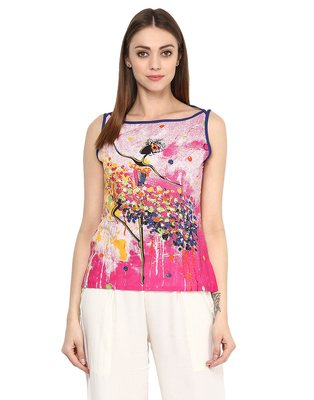 pink Cotton printed stitched tops