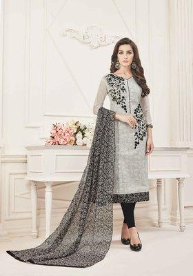 White embroidered chanderi salwar with dupatta