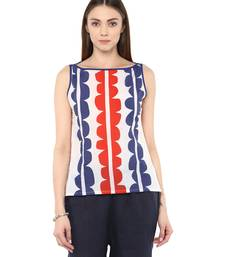 Buy white Cotton printed stitched tops top online