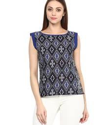 Buy black Cotton printed stitched tops top online