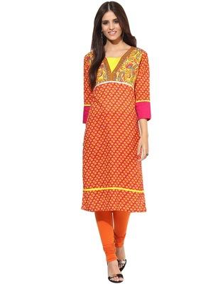 Jaipur Kurti Pure Cotton Printed 3/4th Sleeves Multi Kurti