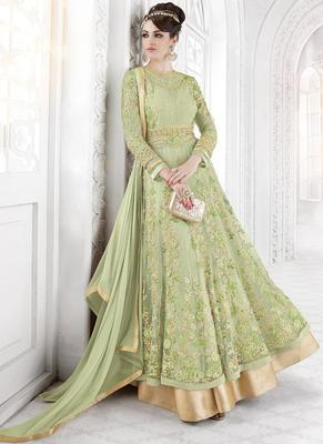 Light green embroidered net salwar with dupatta
