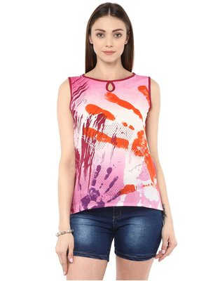 multicolor Cotton printed stitched tops