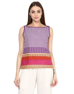 purple Cotton printed stitched tops