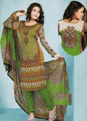 Beautiful Green Printed Crepe Unstitched Dress Material D.No T25015