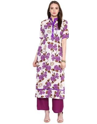 Jaipur Kurti White Cotton Floral Print Kurta