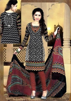 Beautiful Black Printed Crepe Unstitched Dress Material D.No T27004