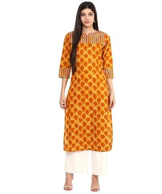 Jaipur Kurti Cotton Mustard Floral print Kurta
