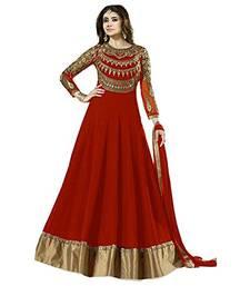 Buy Red embroidered georgette salwar with dupatta anarkali-salwar-kameez online