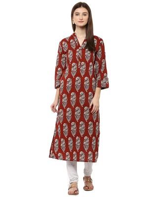Jaipur Kurti Cotton Brown Floral Print Kurta