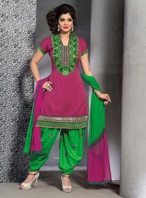 magenta Ethnic Suits in designer style
