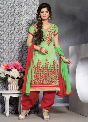 green Fancy Salwar Kameez in designer style