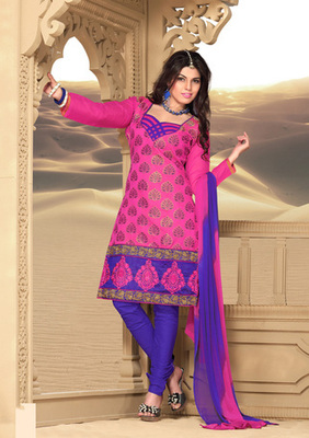 pink Printed Designer Suits with matching duppata