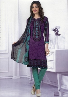 Trendy Purple Printed Crepe Unstitched Dress Material D.No MA204