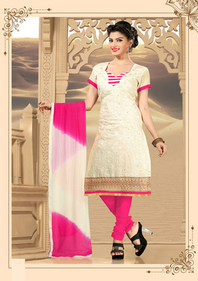 off white Fancy Dress Material with matching duppata