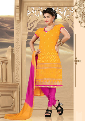 yellow Prints Ladies Suits with matching duppata