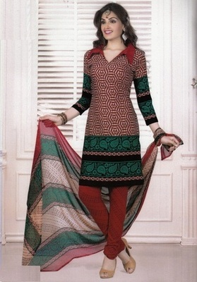 Dazzling Red Printed Crepe Unstitched Dress Material D.No MA207