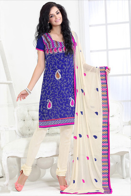 blue Churidar Suits with matching duppata