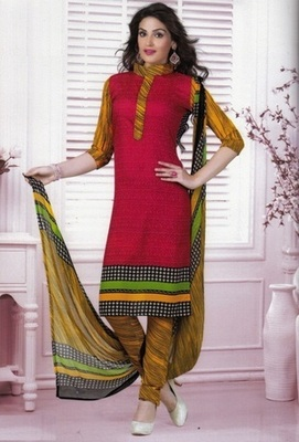 Radiant Red Printed Crepe Unstitched Dress Material D.No MA211