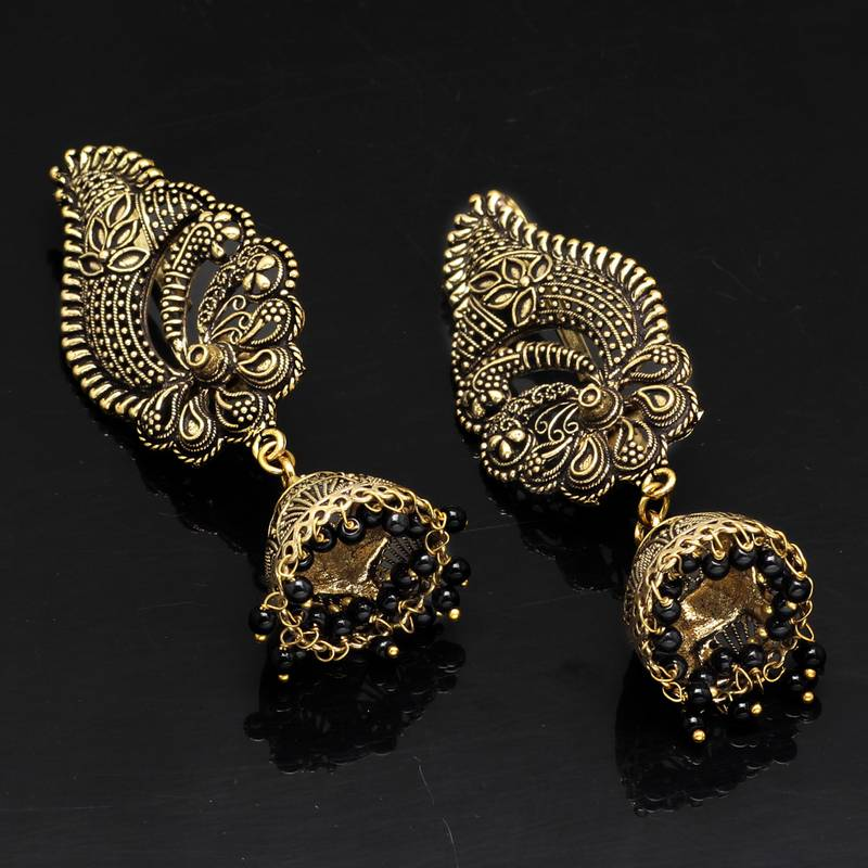 Buy Black Color Oxidised Gold Plated Ear Cuff Jhumka Earrings Online