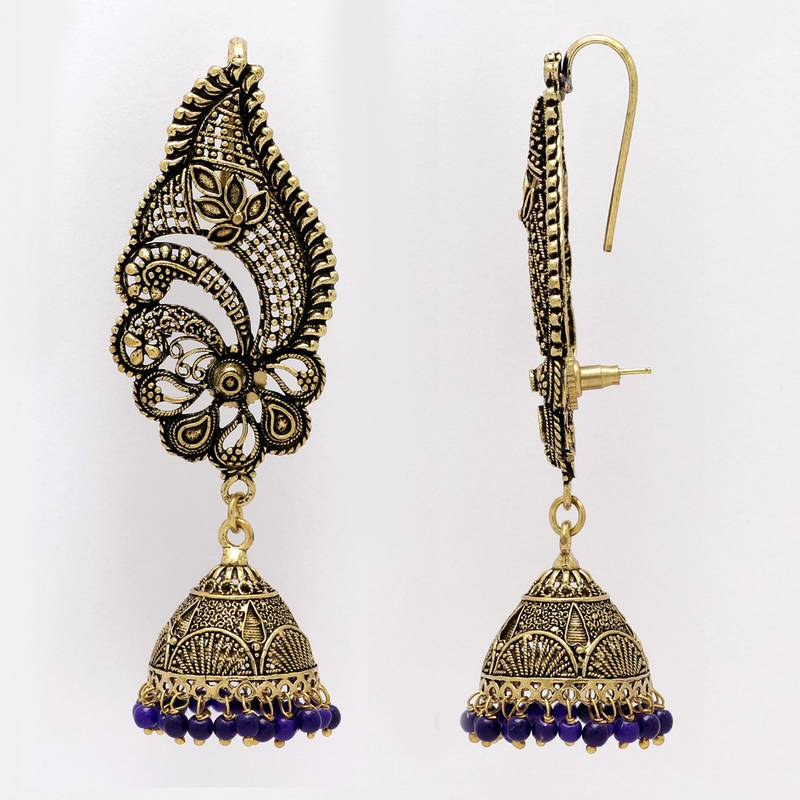 Buy Oxidised Gold Plated Blue Color Ear Cuff Jhumka Earrings Online