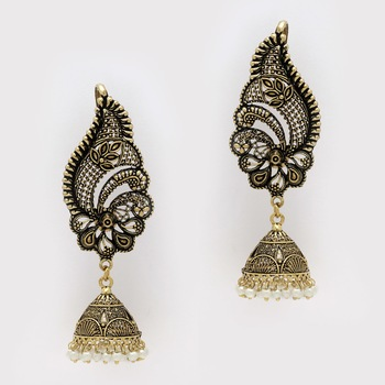 Buy Oxidised Gold Plated White Color Ear Cuff Jhumka Earrings Online