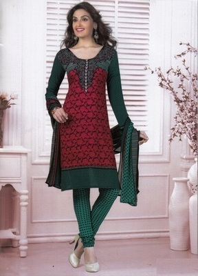 Beautiful Red Printed Crepe Unstitched Dress Material D.No MA218