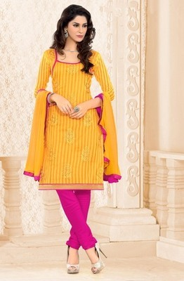 yellow Printed Embroidery Suits  with matching duppata