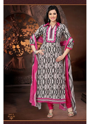 Cotton Embroidered Multi-Coloured Dress Material