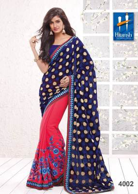 half & half designer saree 4002.