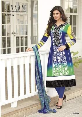 Blue Cotton Dress Material