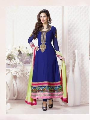 Blue Georgette Dress material