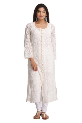 Cream Embroidered Georgette Stitched Chikankari Kurti