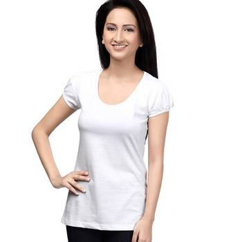 Casual round neck : White