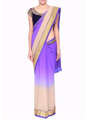 Shaded saree in deep blue and gull grey embellished in mirror and sequence