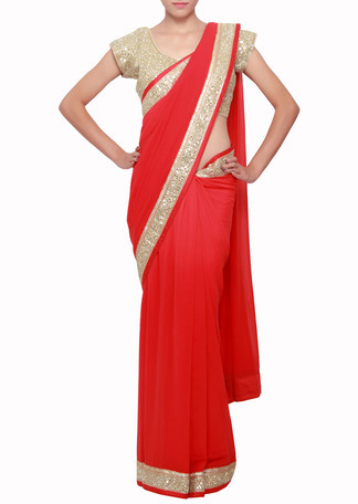 034179342ec3fd Scarlet red saree embellished in mirror embroidered border - kalkifashion -  291300