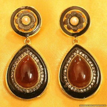 Victorian Look Semi Precious Earrings