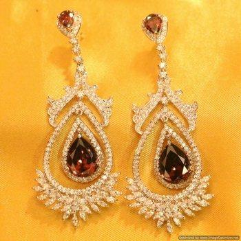 Diamond Look Silver Plated Semi Precious Earrings