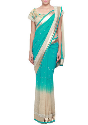 Shaded saree in cream and turq embellished in pearl and stone emboridery