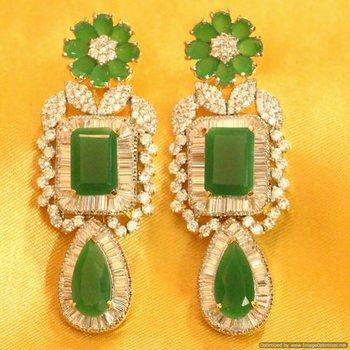 Green Onyx Diamond Look Beautiful Danglers