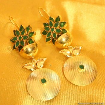 Green Onyx Gold Plated Earrings