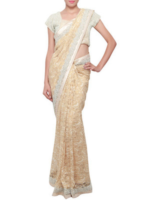 Buy gold chantilly lace saree embellished in pearl and stone border gold chantilly lace saree embellished in pearl and stone border aloadofball Gallery