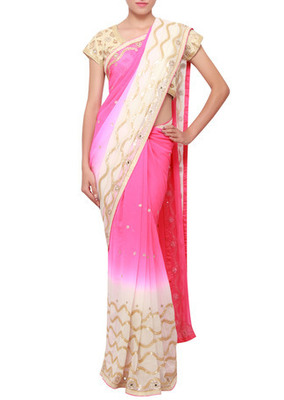 Shaded saree featuring in hot pink and cream embroidered in sequence and kardana embroidery