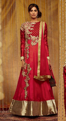 Red Goergette Dress Material
